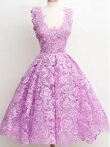 Knee Length Lilac Quinceanera Court of Honor Dress Straps Sleeveless Zipper