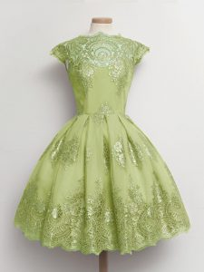 Designer Yellow Green Tulle Lace Up Damas Dress Cap Sleeves Knee Length Lace