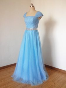 Square Cap Sleeves Zipper Quinceanera Dama Dress Baby Blue Tulle