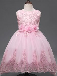 Tulle Scoop Sleeveless Zipper Lace and Appliques and Bowknot and Hand Made Flower Kids Pageant Dress in Baby Pink