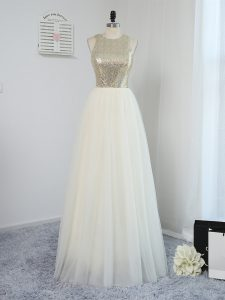 Dynamic Light Yellow Sleeveless Tulle Backless Quinceanera Court Dresses for Prom and Party and Wedding Party