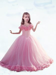 Charming Baby Pink Little Girls Pageant Dress Wholesale Off The Shoulder Sleeveless Court Train Lace Up