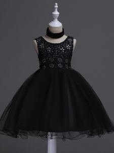 Black Little Girls Pageant Dress Wedding Party with Beading and Lace Scoop Sleeveless Zipper
