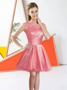 Watermelon Red Backless Quinceanera Dama Dress Beading and Lace Sleeveless Knee Length