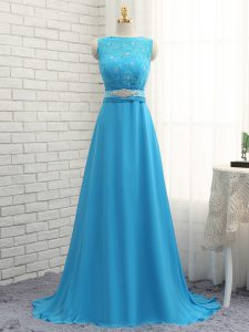 Baby Blue Damas Dress Prom and Party and Wedding Party with Beading and Lace Asymmetric Sleeveless Brush Train Zipper