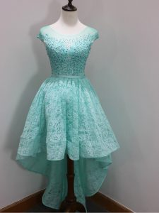 Most Popular Scoop Cap Sleeves Zipper Dama Dress Aqua Blue Lace