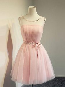 Gorgeous Knee Length Lace Up Dama Dress Baby Pink for Prom and Party and Wedding Party with Belt