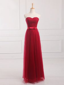 Floor Length Lace Up Quinceanera Court Dresses Wine Red for Prom and Party and Wedding Party with Belt
