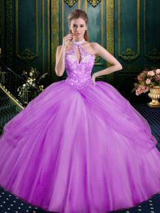 Best Selling Lilac Lace Up Sweet 16 Quinceanera Dress Beading and Pick Ups Sleeveless Floor Length