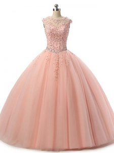 Modest Floor Length Lace Up Quinceanera Dress Peach for Military Ball and Sweet 16 and Quinceanera with Beading and Lace