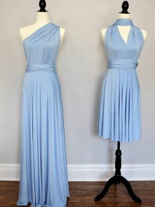 Pretty Light Blue Dama Dress for Quinceanera Prom and Wedding Party with Ruching One Shoulder Sleeveless Lace Up