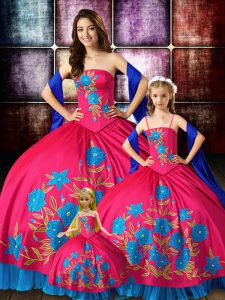Extravagant Sleeveless Taffeta Floor Length Lace Up Quinceanera Dresses in Hot Pink with Embroidery