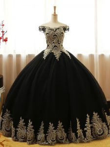 Fine Appliques Quinceanera Gowns Black Lace Up Sleeveless Floor Length