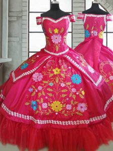 Glamorous Hot Pink Sweetheart Neckline Beading and Embroidery Quince Ball Gowns Short Sleeves Lace Up