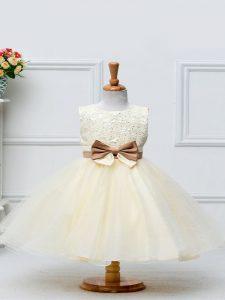 Lovely Knee Length Ball Gowns Sleeveless Champagne Kids Formal Wear Zipper