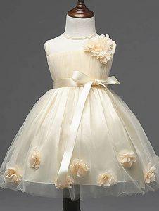 Beautiful Champagne Sleeveless Knee Length Hand Made Flower Zipper Little Girls Pageant Gowns