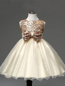 Champagne Girls Pageant Dresses Wedding Party with Sequins and Bowknot Scoop Sleeveless Zipper