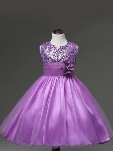 Simple Scoop Sleeveless Kids Formal Wear Knee Length Sequins and Hand Made Flower Lilac Tulle