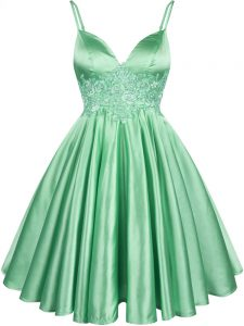 Comfortable Sleeveless Knee Length Lace Lace Up Dama Dress for Quinceanera