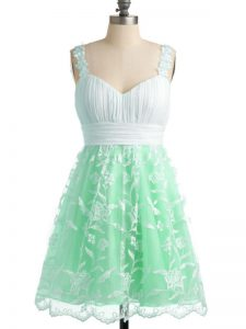 Sleeveless Knee Length Lace Lace Up Quinceanera Court Dresses with Apple Green