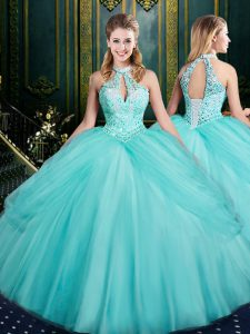 Hot Selling Sleeveless Tulle Floor Length Lace Up 15th Birthday Dress in Aqua Blue with Beading and Pick Ups