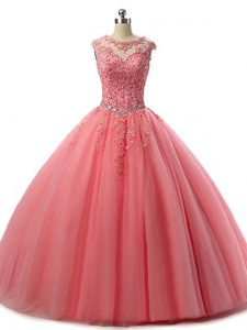 Watermelon Red Scoop Neckline Beading and Lace Quince Ball Gowns Sleeveless Lace Up