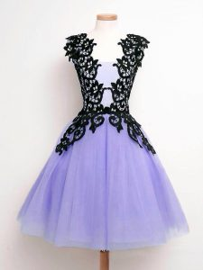 Trendy Sleeveless Tulle Knee Length Lace Up Quinceanera Court Dresses in Lavender with Lace