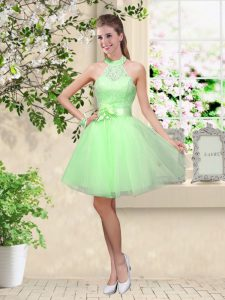 Stunning Knee Length Dama Dress for Quinceanera Tulle Sleeveless Lace and Belt