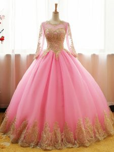 Pink Organza Lace Up Vestidos de Quinceanera Long Sleeves Floor Length Appliques