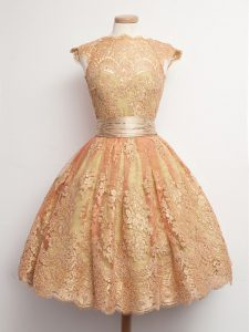 Cap Sleeves Belt Lace Up Quinceanera Dama Dress