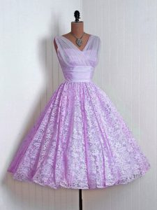 Lilac Sleeveless Lace Lace Up Dama Dress for Quinceanera for Prom and Party and Wedding Party