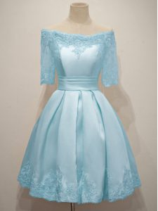 Romantic Off The Shoulder Half Sleeves Taffeta Dama Dress for Quinceanera Lace Lace Up