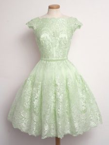 Flirting Yellow Green A-line Lace Damas Dress Lace Up Lace Cap Sleeves Knee Length