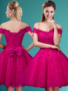 Fitting Fuchsia Tulle Lace Up Off The Shoulder Cap Sleeves Knee Length Vestidos de Damas Lace and Belt