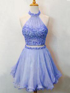 Hot Sale Organza Halter Top Sleeveless Lace Up Beading Vestidos de Damas in Lavender