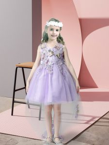 High Low Lavender Little Girl Pageant Dress Tulle Sleeveless Lace and Bowknot