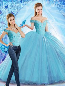 Baby Blue Sweet 16 Quinceanera Dress Off The Shoulder Sleeveless Sweep Train Lace Up