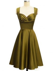 Taffeta Straps Sleeveless Lace Up Ruching Vestidos de Damas in Olive Green