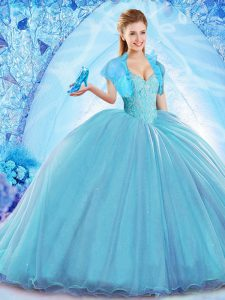 Free and Easy Baby Blue Ball Gowns Off The Shoulder Sleeveless Organza Sweep Train Lace Up Beading Quinceanera Gowns