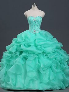 Traditional Ball Gowns Quince Ball Gowns Apple Green Sweetheart Organza Sleeveless Floor Length Lace Up