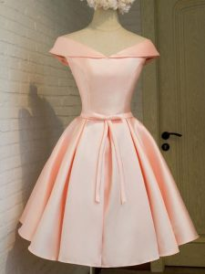 Fabulous Off The Shoulder Cap Sleeves Court Dresses for Sweet 16 Knee Length Belt Peach Taffeta