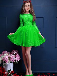 Spectacular Mini Length Quinceanera Court of Honor Dress Scalloped 3 4 Length Sleeve Lace Up