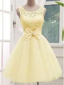 Fashion Knee Length Light Yellow Dama Dress for Quinceanera Tulle Sleeveless Lace and Bowknot