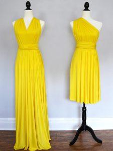 Modern Yellow Empire Chiffon Halter Top Sleeveless Ruching Floor Length Lace Up Vestidos de Damas