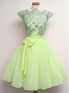 High Class Scalloped Cap Sleeves Lace Up Quinceanera Court of Honor Dress Yellow Green Chiffon