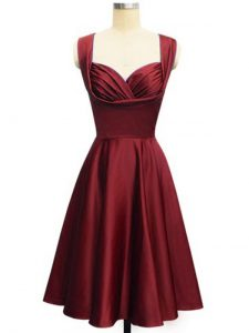 Hot Sale Wine Red Straps Lace Up Ruching Quinceanera Court of Honor Dress Sleeveless