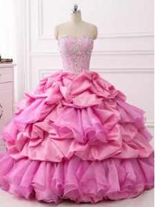 Ball Gowns Sweet 16 Dress Rose Pink Sweetheart Organza and Taffeta Sleeveless Floor Length Lace Up