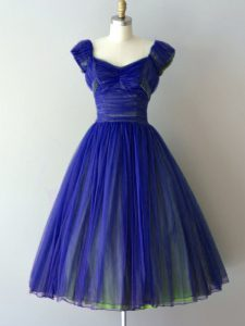 Royal Blue Lace Up V-neck Ruching Dama Dress Chiffon Cap Sleeves