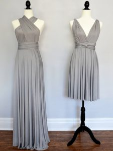 Grey Sleeveless Chiffon Lace Up Quinceanera Court Dresses for Prom and Party and Wedding Party