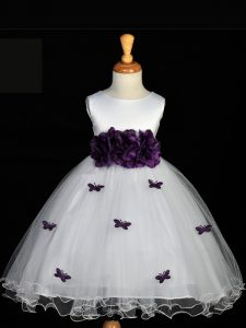 Modern White Scoop Neckline Appliques and Bowknot and Hand Made Flower Girls Pageant Dresses Sleeveless Zipper